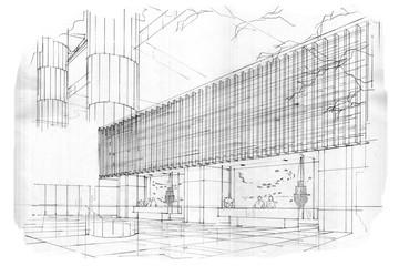 sketch perspective stripes reception, black and white interior design.