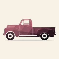 Classic pickup truck. Polygonal styled vector illustration. Retro car.