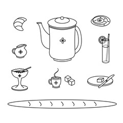 Breakfast meal doodle style icons in black & white.