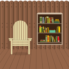 Empty Chair On Wood Wall And Ground With Bookcase Beside Vector