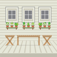 Empty Three Benches On Wood Wall And Ground With Pot Plants Vector