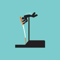 Pole Vault Athletes Graphic Symbol Vector Illustration