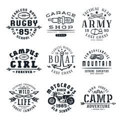 Set of team sports, motorcycling and military emblems