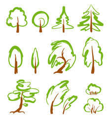 Set of stylized vector trees