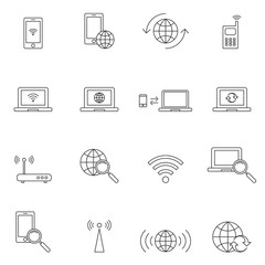 Outline wireless icon set isolated on white background