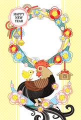 2017年酉年完成年賀状テンプレート「花注連縄と鶏親子写真フレーム 」HAPPYNEWYEAR (茶)