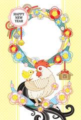 2017年酉年完成年賀状テンプレート「花注連縄と鶏親子写真フレーム 」HAPPYNEWYEAR (白)