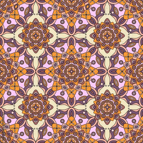 Seamless Decorative Ornate Pattern In Shades Of Purple Red Orange Yellow Pink