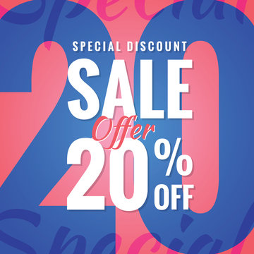 Special Discount Sale 20 percent heading simple modern design fo