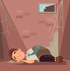 Fired office worker character sleeping on street. Vector flat cartoon illustration