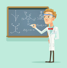 Young professor scientist character with chalkboard in classroom. Vector flat cartoon illustration