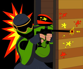 Cool paintball player shooting from his marker. Vector illustration.