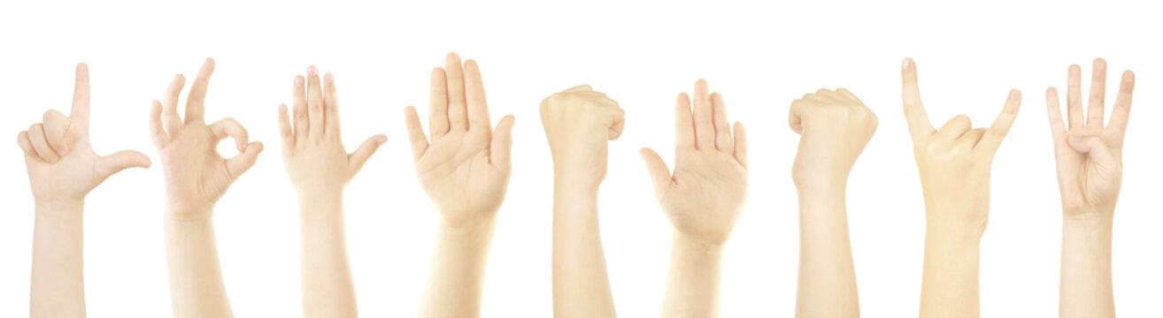 Children hands showing gestures on white background.