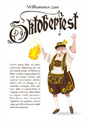 Oktoberfest. Logo, poster. A truly German national costume with