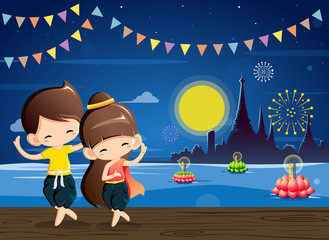 Cute boy&girl in national costume-Thai dance in Loy Krathong festival.Vector Illustration