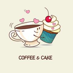 Coffee and cake, love forever. Coffee and cake hug. Comic, carto