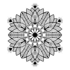 Nice monochrome Vector Mandala. Geometric circle element.