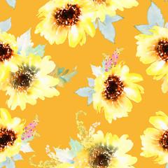 Sunflowers seamless pattern.