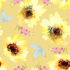 Sunflowers seamless pattern.