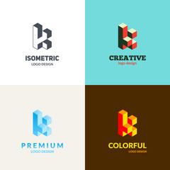 """Letter """"K"""" logo design. Trendy isometric typography."""