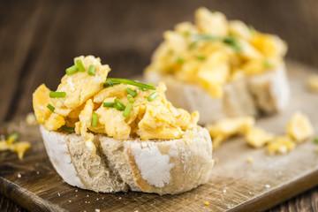 Bun with Scrambled Eggs (close-up shot)
