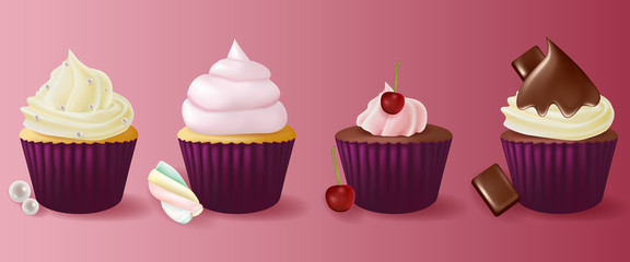 Different flavors isolated set of cupcakes.