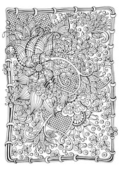 drawn backdrop. Coloring book  page for adult and older children. Black and white abstract floral pattern.