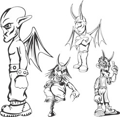 Set of teenage redneck demon guys