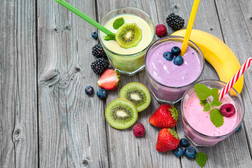 Healthy smoothies with fresh fruits
