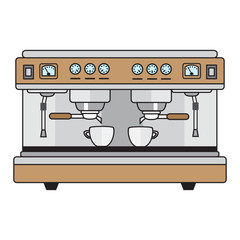 professional coffee machine metallic colors in a flat style