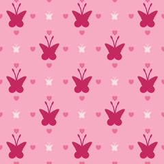 Illustration with pink butterflies, seamless background, seampless pattern