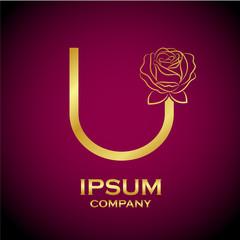 Letter U logo,Rose Flower Gold, beauty and fashion logo