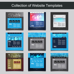 Collection of Website Templates for Your Business - Nine Nice and Simple Design Templates with Different Patterns and Header Designs - Blue, Gallery, Business