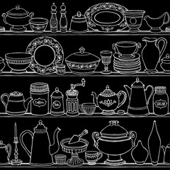 Shabby chic kitchen vector seamless pattern with cooking items. Hand drawn food and drink outline background on blackboard.