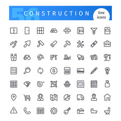 Construction Line Icons Set