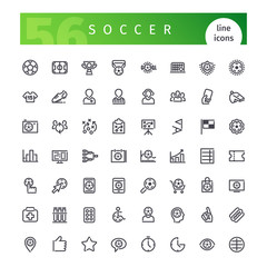 Soccer Line Icons Set