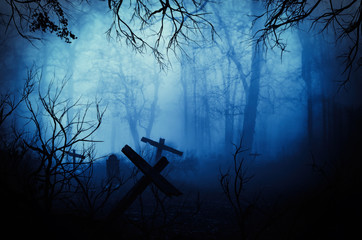 Dark Horror Forest  gravestone wallpaper Creatie Abstract Background.