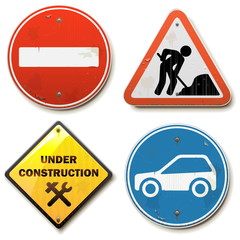 Vector Old Road Signs