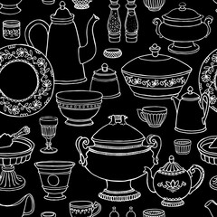Shabby chic kitchen vector seamless pattern with cooking items on blackboard. Hand drawn background of dishes in retro style .