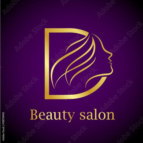 Abstract letter D logo,Gold Beauty salon logo design template ...