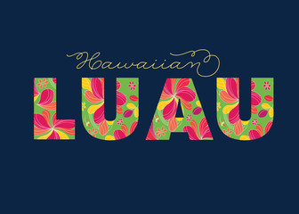 Hawaiian Luau Colorful Word, Text, Letters - Party Sign - Vector