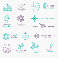 Set of labels and stickers for beauty, natural products, healthcare. Thin line vector illustration concepts for graphic and web design.