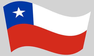 Flag of Chile waving on gray background