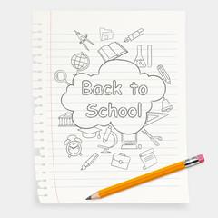 Freehand school illustration. Pencil