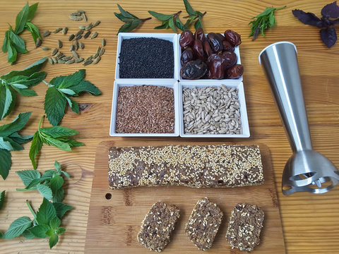Flax black sesame dates sunflower seeds candies cooking with mint and cardamom