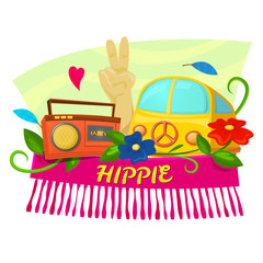 Hippie concept design, vector illustration