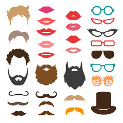 Set of mustache, beards, haircuts, lips and sunglasses. Birthday party photo booth props. Vector collection of icons.
