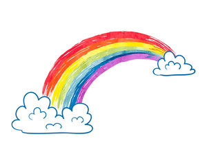 Watercolor cartoon rainbow and clouds isolated on white. Colorful vector illustration.