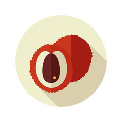 Lychee flat icon. Tropical fruit