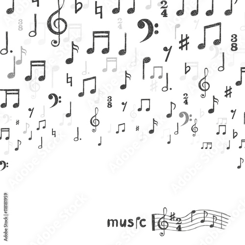 Hand Drawn Music Notes Background Vector Illustration Stock